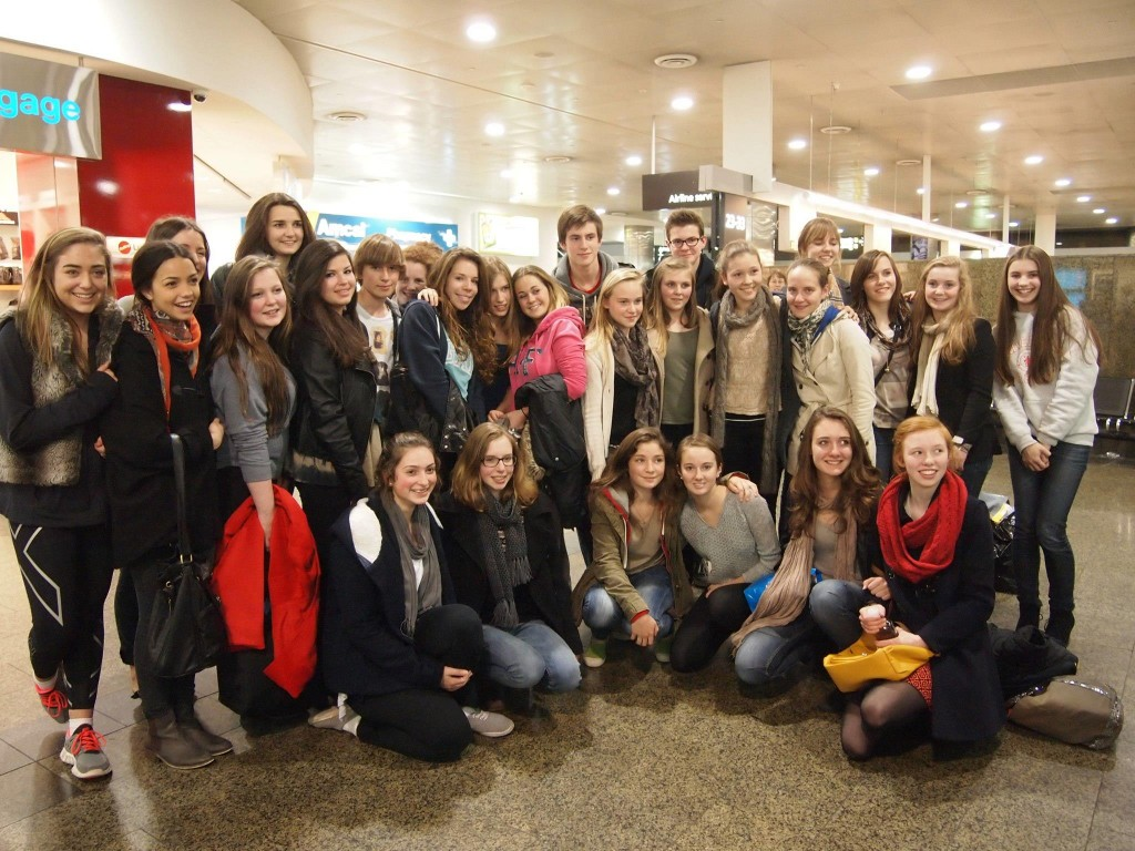 exchange students at airport